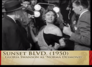 Norma Desmond, played by Gloria Swanson, in the film Sunset Boulevard, directed by Billy Wilder(1950).